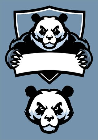 set of panda mascot hold banner for text