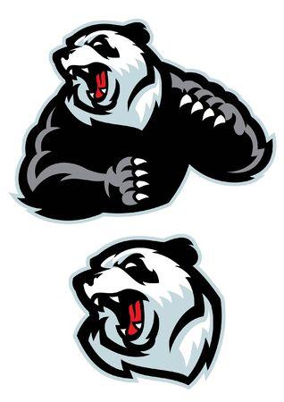 set bundle of panda vector mascot