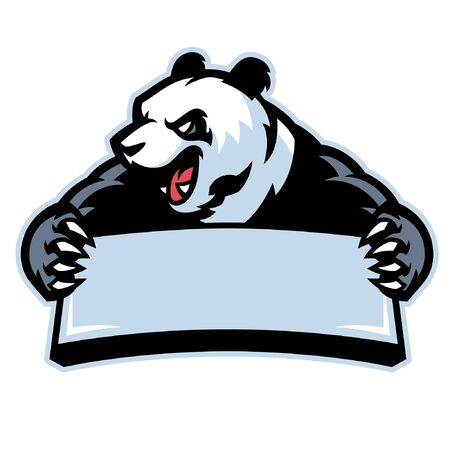 panda vector mascot hold blank banner for text 向量圖像