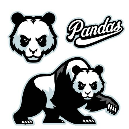 set of bundle panda vector mascot 向量圖像