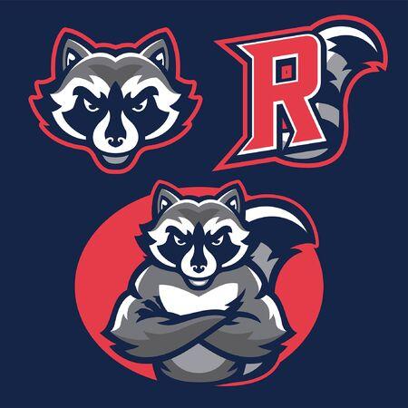 set bundle of racoon mascot in sport athletic style Çizim