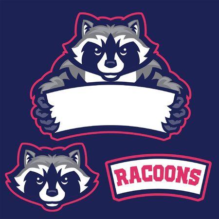 set bundle of racoon mascot