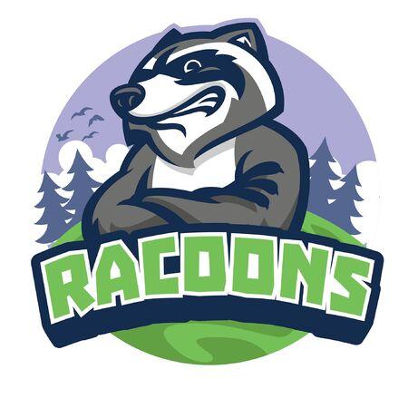 racoon mascot vector crossing arm Illusztráció