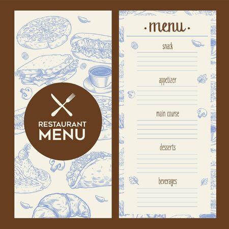 restaurant menu book design Иллюстрация