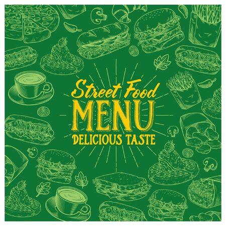 vintage menu book design of delicious street food Иллюстрация