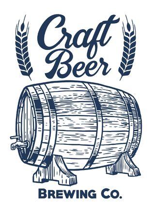 vintage drawing of beer barrel Иллюстрация