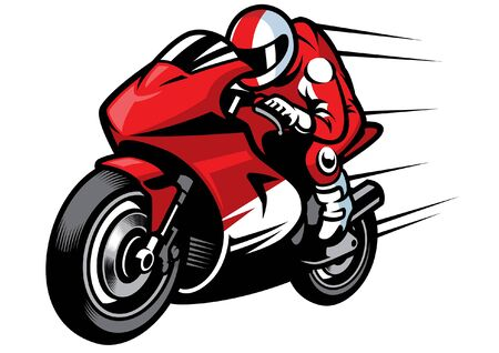 man riding racing motorcycle Vettoriali