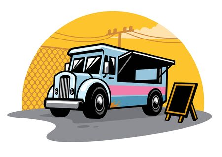 food truck parking selling the food Illustration
