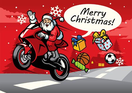 christmas greeting with santa claus riding motorcycle