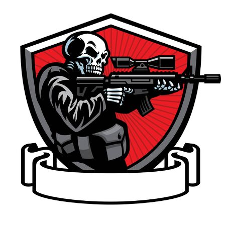 skull soldier badge design