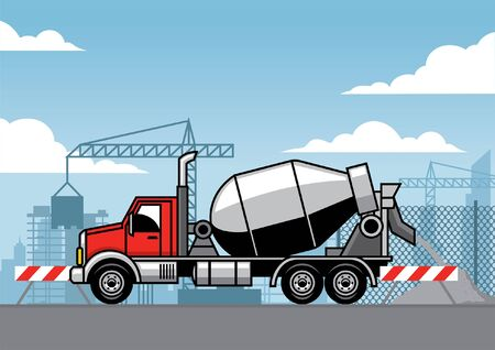 cement truck at construction site