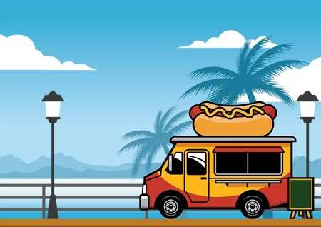 hot dog food truck at the beach 向量圖像
