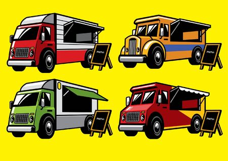 set vector of food truck collection