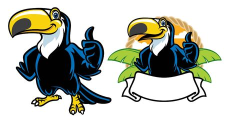 toucan bird mascot set