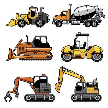 set bundle of heavy engine truck machine