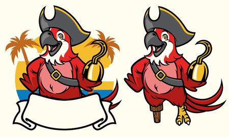set of parrot mascot wearing pirate Иллюстрация