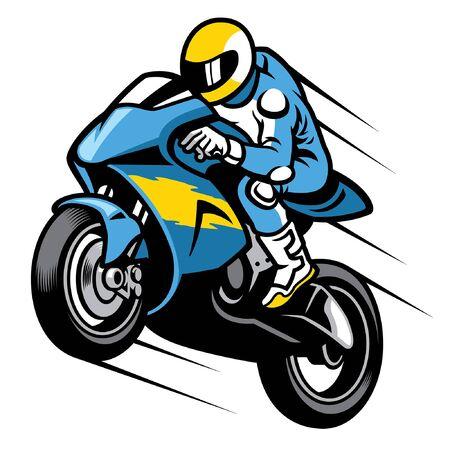 vector of racer riding sport motorbike Illustration