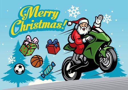 santa clause riding motorcycle