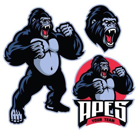 conjunto, vector, de, enojado, gorila