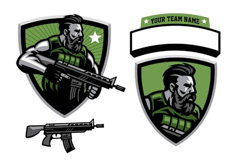 set vector of soldier army mascot