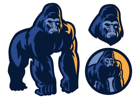 set vector of gorilla