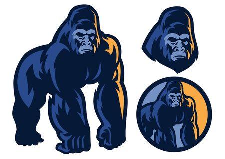 set vector of gorilla