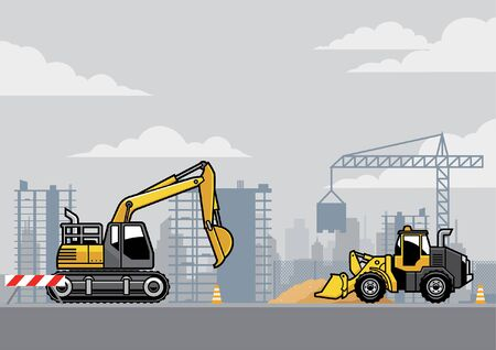 backhoe and tractor vector at construction site