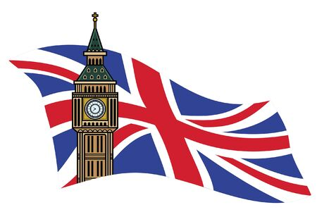 UK flag and big ben tower Banco de Imagens - 134100504