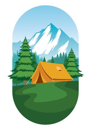 camping tent vector at the nature