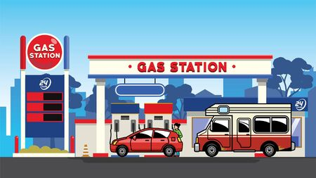 cars refueling at gas station