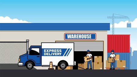 cargo truck at the freight warehouse vector Banco de Imagens - 134100531