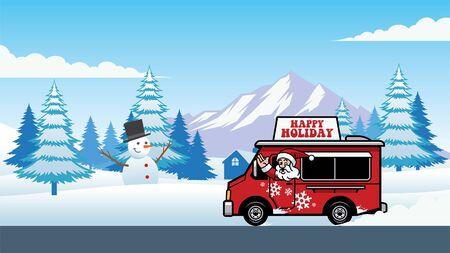 santa claus riding a truck in christmas winter Banco de Imagens - 134100534