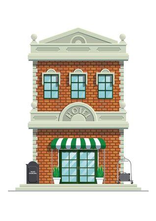 vintage old hotel building vector Banco de Imagens - 134100539