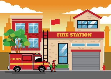 fire truck in front of fire station vector design Banco de Imagens - 134100546