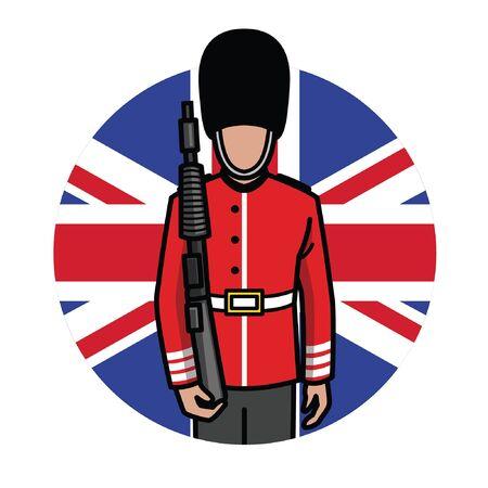 UK's queen's guard with britain flag Banco de Imagens - 134100673