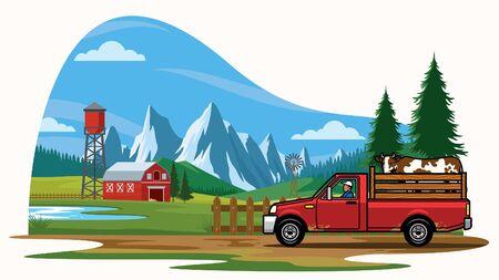 farm truck at the farming land Ilustrace