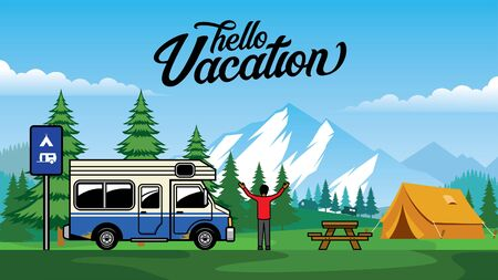 RV truck vacation at mountain Ilustrace
