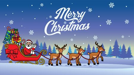 santa clause riding deer sleigh in the middle of night Stock fotó - 134100684