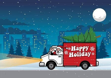 Père Noël en camion au milieu de la nuit