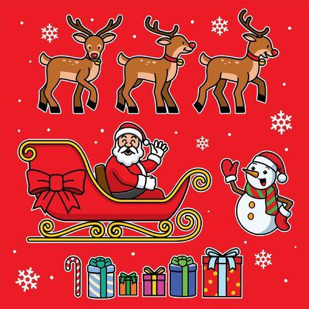 set bundle of cute santa clause and friend Banco de Imagens - 134100687