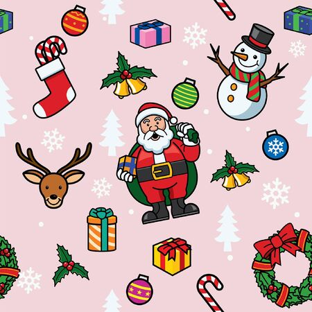 seamless pattern of santa claus and christmas object Banco de Imagens - 134100688