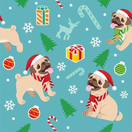 seamless pattern christmas pug dog