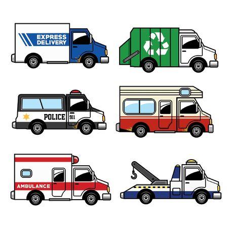 bundle of service truck vehicle Illustration