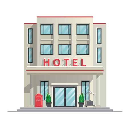vintage hotel building  イラスト・ベクター素材