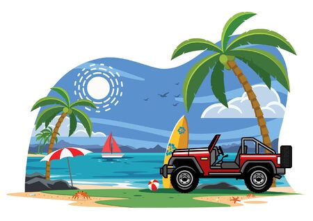 old off road car at the beach Illustration