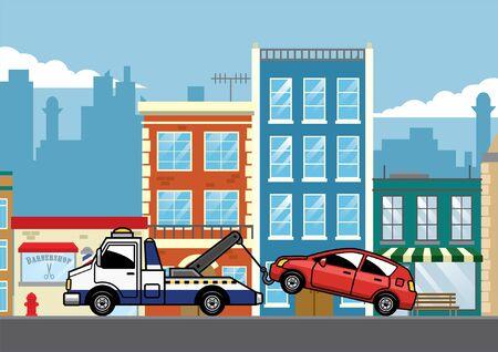Auto mit LKW mitten in der Stadt abgeschleppt Vektorgrafik