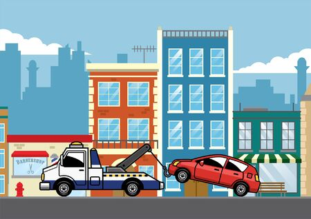 car towed by truck in the middle of city Ilustracja