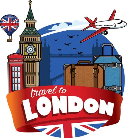set vector london traveling destination Banco de Imagens - 134100747