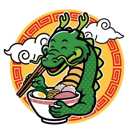 happy dragon cartoon eating ramen