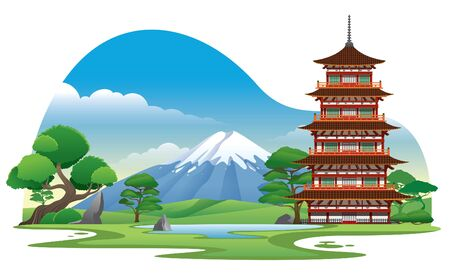 japanese pagoda temple with garden and mountain background